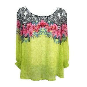 Soft Surroundings Tropical Floral Sequined Blouse